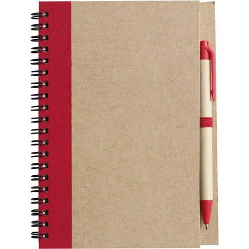Red Eco Freindly Promotional Notebook and Pen - Totally Branded