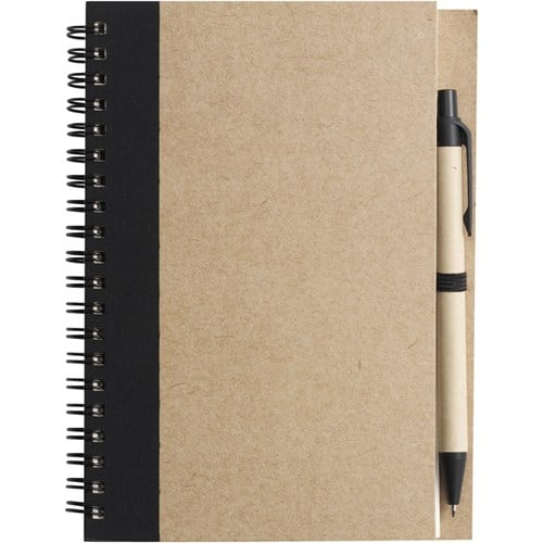 Promotional Wire Bound Recycled Notebook with Ballpen - TotallyBranded